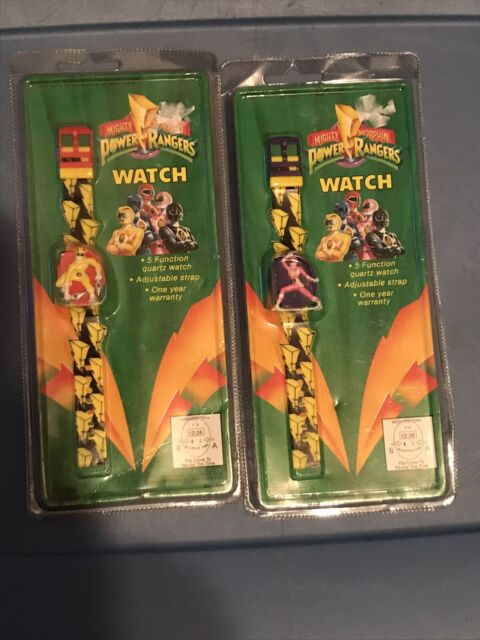 Vintage 1993 Mighty Morphin Power Rangers Yellow And Pink Watch Unopened RARE