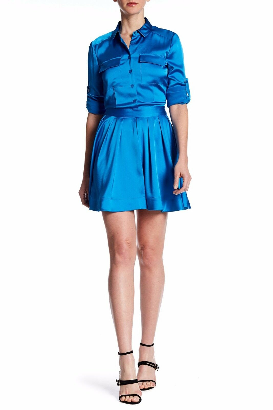NWT DKNY WOMEN Sz8 LONG SLEEVE SATIN PLEATED SHIRT DRESS CERULEAN blueE