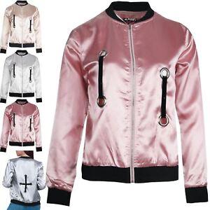 8dca0817c Details about Womens Ladies Satin Bomber Jacket Eyelet Baseball Collar  Shiny Zip Up Biker Coat