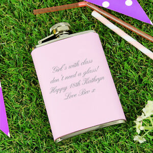 Image Is Loading PERSONALISED MODERN PINK FEMALE HIP FLASK Bridesmaid 18th