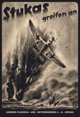 "World War Tin Sign Shield Arched 20 x 30 CM Scale /"" Stukas Greifen an 2"