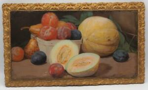 Antique-Lithograph-Print-Wood-Frame-Still-Life-Fruit-B-W-Priestmuller