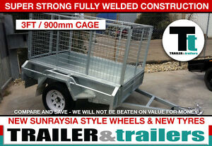6x4 GALVANISED CAGE TRAILER – SINGLE AXLE - 3FT CAGE -NEW WHEELS & TYRES - SPARE