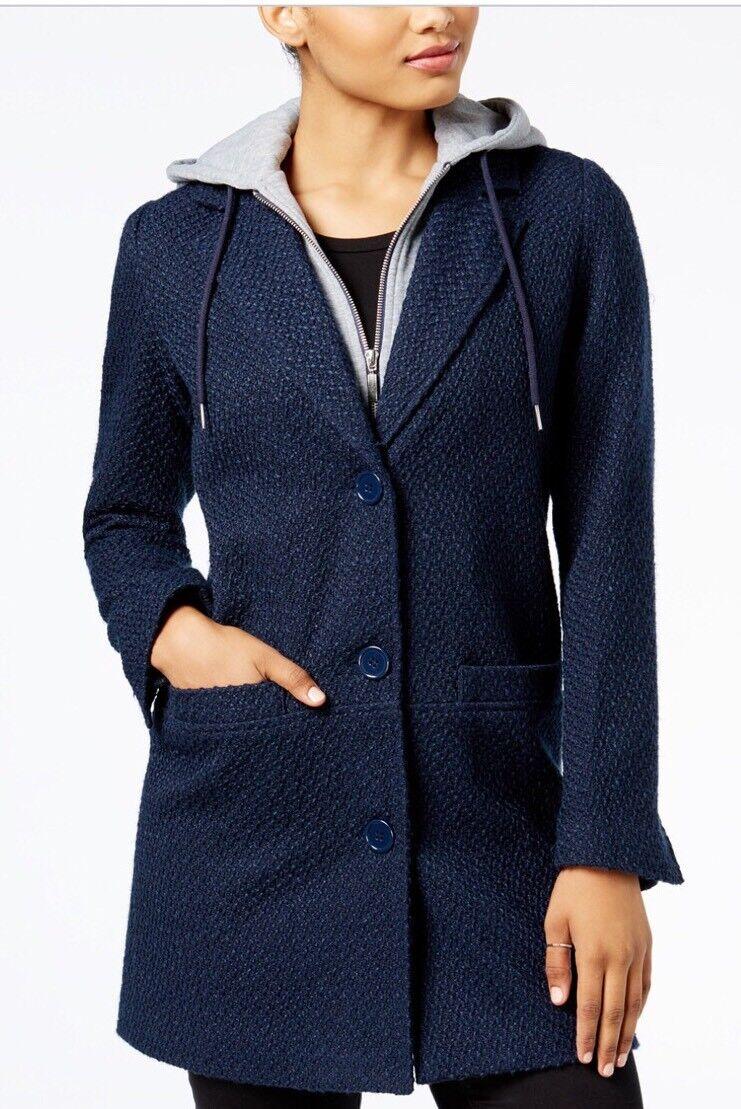 Maralyn & Me Junior's Hooded Boyfriend Coat Size L