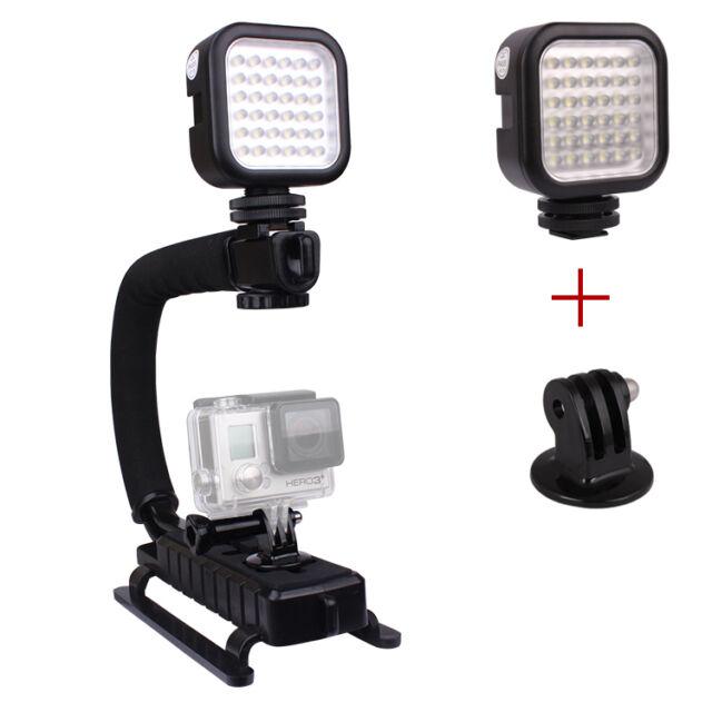 C Shape Flash Bracket Stand Grip Holder+LED Light Lamp for GoPro Hero 1 2 3 3+ 4