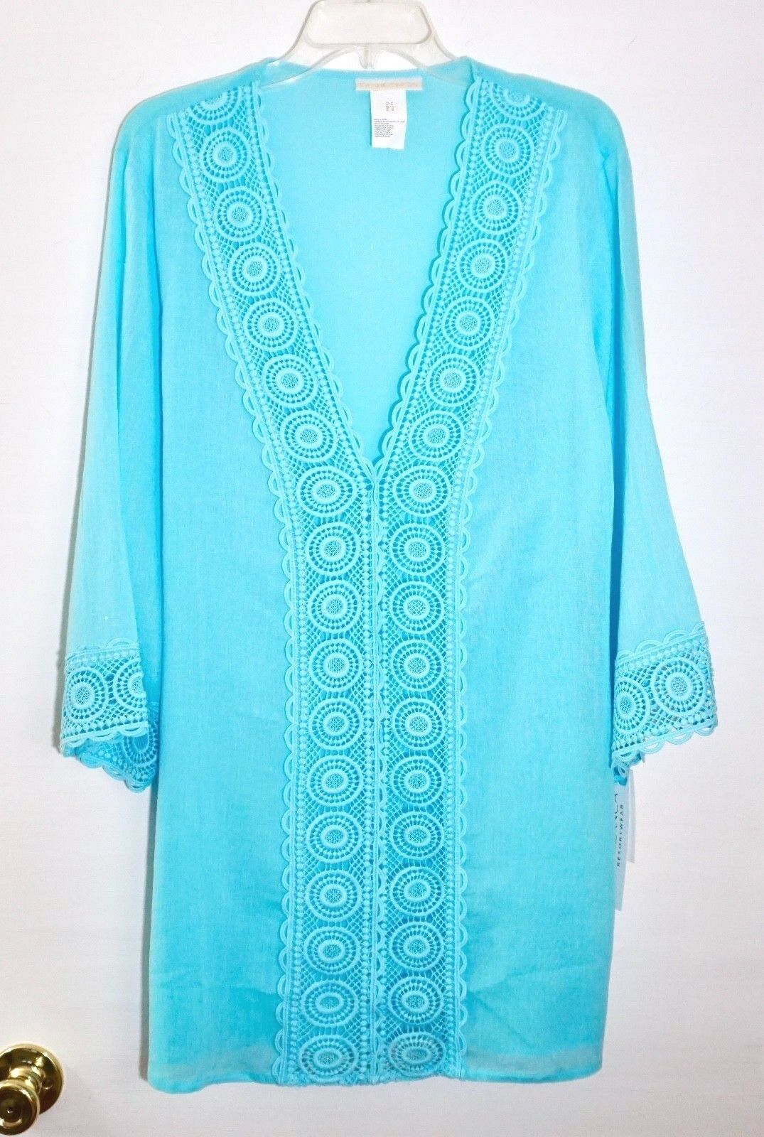 99 La whitea Island Fare Lace Embroidered Inset Tunic Swim Cover Up, Ice bluee