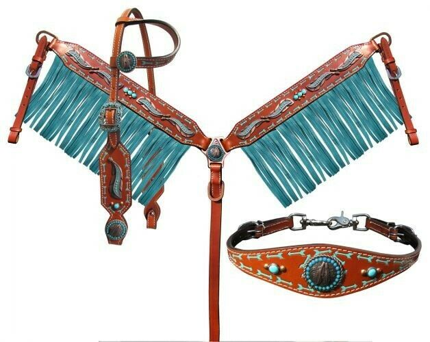 Showman 4 Piece Feather Arrow Headstall & Breast Collar Set w  TURQUOISE Fringe