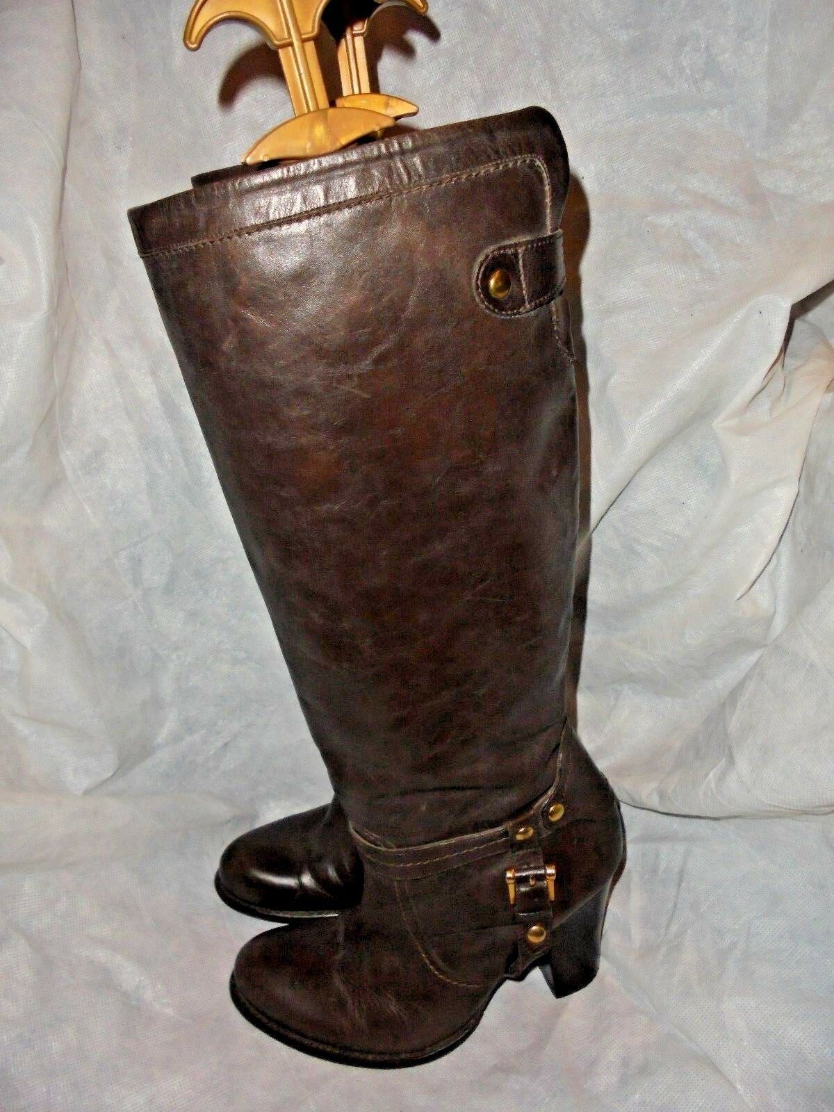 ESPIRIT WOMEN BROWN LEATHER PULL ON KNEE HIGH BOOT SIZE US  VGC