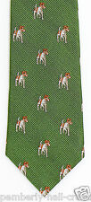J. Crew Crewcuts Boys Necktie Jack Russell Puppy Dog Woven Silk Green Tie New