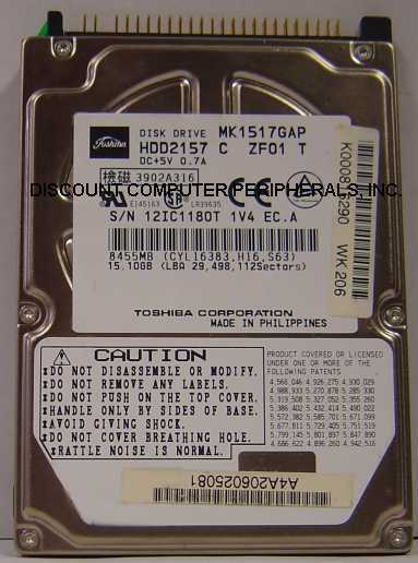 "MK1517GAP Toshiba HDD2157 15GB 2.5"" IDE Drive Free USA Ship Our Drives Work"
