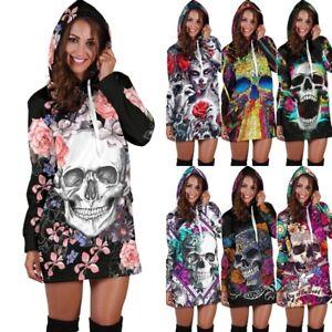 UK-Women-Skull-Floral-Sweatshirt-Long-Sleeve-Sweater-Hoodies-Jumper-Winter-Dress