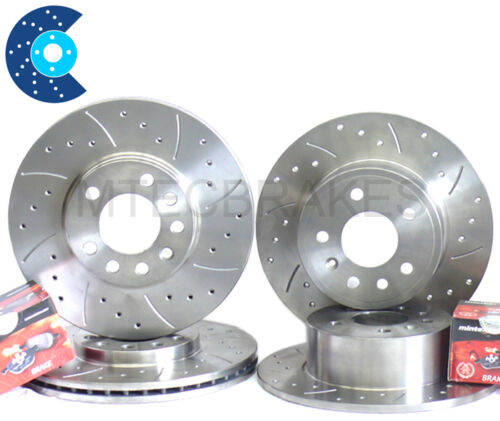 CLK270 CDi C209 Drilled grooved  Brake Discs Front Rear /& Pads