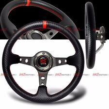 Universal PVC Carbon Fiber 320mm Red Stitches Deep Dish Drift Steering Wheel JDM