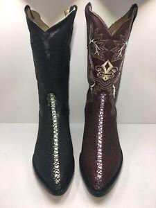 Men-Genuine-Leather-String-Ray-Print-Cow-Boy-J-Toe-Boots-Style-Stingray-J-Toe