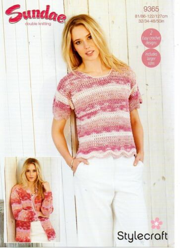 Stylecraft 9365 Tee Shirt and Cardigan in Sundae DK