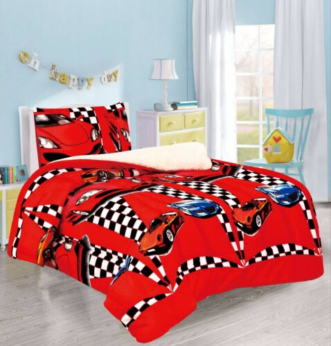RACING CARS BOYS FLANNEL BLANKET WITH SHERPA 2 PC TWIN THICK SOFT AND WARM