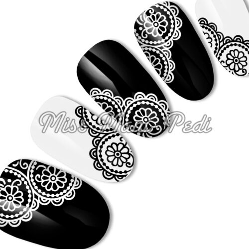 Black & White Lace Circle Nail Decals, Water Decals, Nail Stickers, Wedding S040