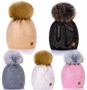 Women-Winter-Beanie-Hat-Knitted-Large-Pom-Pom-CRYSTAL-Ladies-Fashion-Soft-Fleece