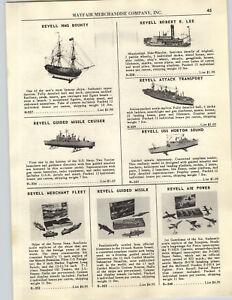 1956 PAPER AD Revell Model Ships Boats Robert E Lee HMS Bounty USS