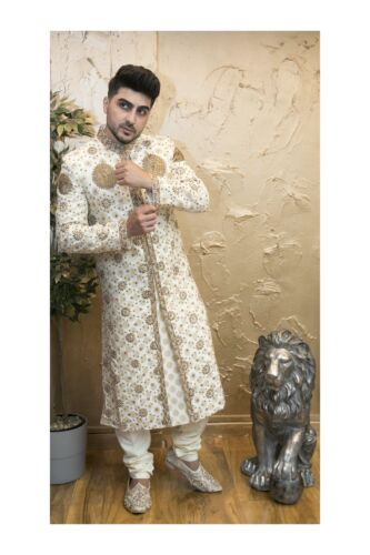 White Sherwani with Embroidery Indian Mens Bollywood Suit in Size 38