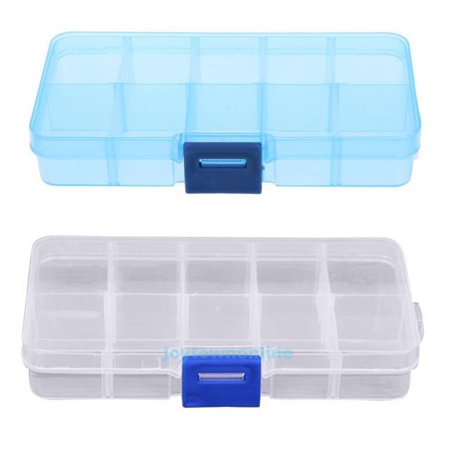 10 Compartments Transparent Plastic Jewelry Storage Box Container Organizer Case