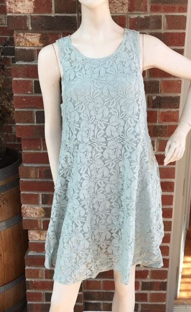 NWT Free People Sz L Large Sheath Sleeveless  Miles of Lace Dress  in Sky