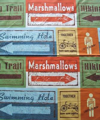 Road Trip Travel Signs Hiking Marshmellow Retro Clothworks Cotton Fabric Yard