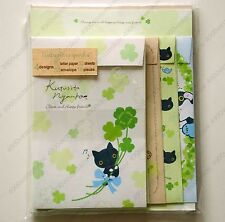 japan san x Cute black cat Kutusitanyanko lucky leaf letter paper envelope set