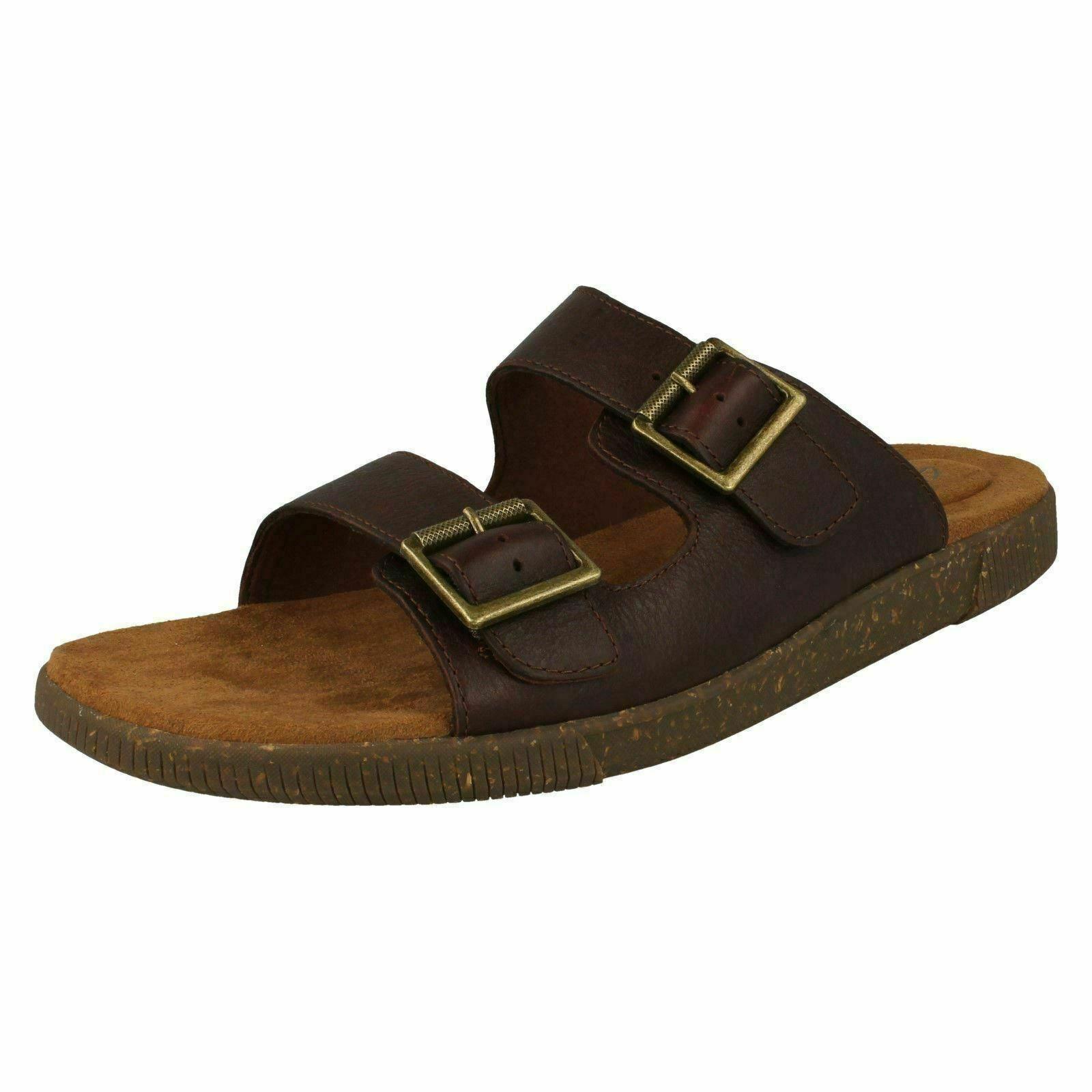 Mens Clarks Vine Cedar Leather Mule Sandals