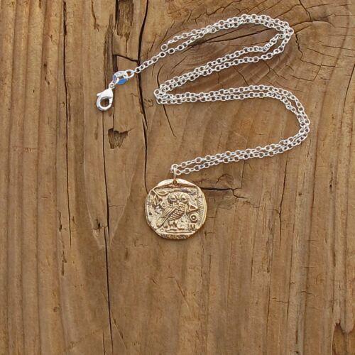 Bronze Ancient Coin Athena Owl Pendant Silver Necklace Goddess Greek Mythology