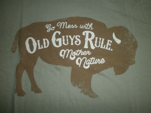 """OLD GUYS RULE 100/% SPUN COTTON FRONT PRINTED LOGO /""""GO MESS WITH MOTHER NATURE/"""" L"""