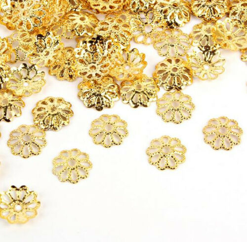 New Gold//Silver Plated Metal Flower Caps Bead For Diy Jewelry Making 100Pcs