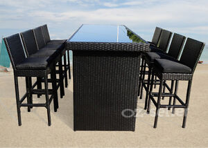 Outdoor-Wicker-Table-And-Chairs-Bar-Setting-Patio-Dining-Pool-9PCS-Waterproof