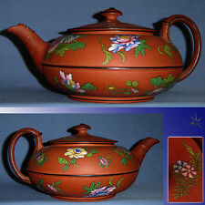 V RARE ANTIQUE VICTORIAN WEDGWOOD ROSSO ANTICO TEAPOT POLYCHROME ENAMELLED MINT