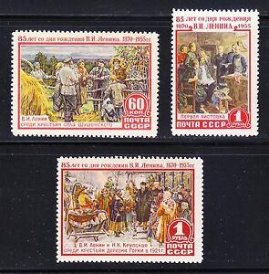 Russie-1955-neuf-sans-charniere-SC-1753-1755-Mi-1756-1758-85th-Anniversaire-de-la-naissance-de