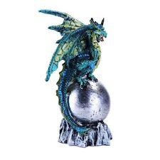 Fantasy Aqua Dragon Perched On Silver Orb Statue Home Decor Small Winged