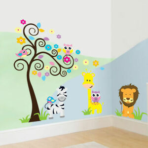 Safari-Tree-Animal-Wall-Stickers-Kids-Nursery-Decals-Girls-Bedroom-Decor