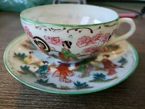 Vintage-Japanese-Geisha-Girl-Porcelain-Tea-Cup-amp-Saucer-Set-Eggshell-Dogwood