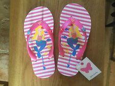 John Lewis Summer Holiday Flip Flops Pink Lollypop Glitter Design Size 13 NEW