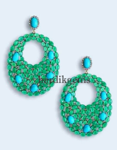 925 Sterling Silver Natural Rosecut Diamond Emerald /& Turquoise Earring Jewelry