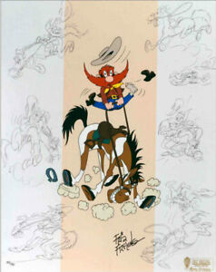Warner-Brothers-Ride-Em-Sam-Limited-Edition-Cel-Signed-By-Friz-Freleng