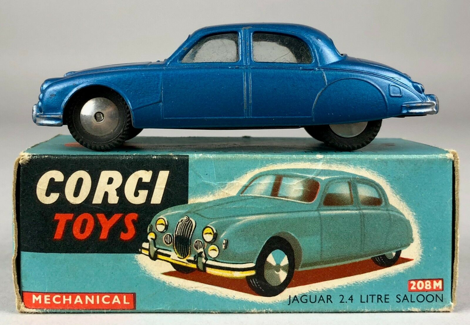 CORGI TOYS -JAGUAR 2.4 LITRE SALOON No. 208M- VINTAGE MECHANICAL MODEL CAR BOXED