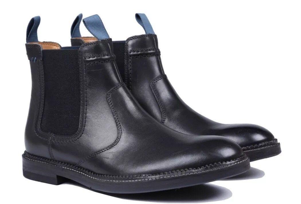 Nouveau Clarks Homme Chaussures Noir Bushwick Hi Cuir Noir Chaussures Taille Divers Bottes edd761