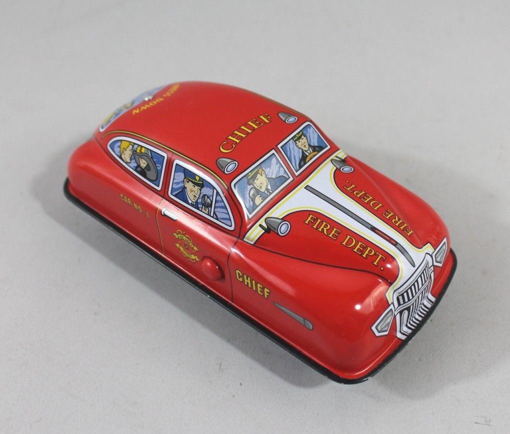 Schylling Car Tin Car Press down Red Tin Toy Fire Brigade Sheet Metal Collector