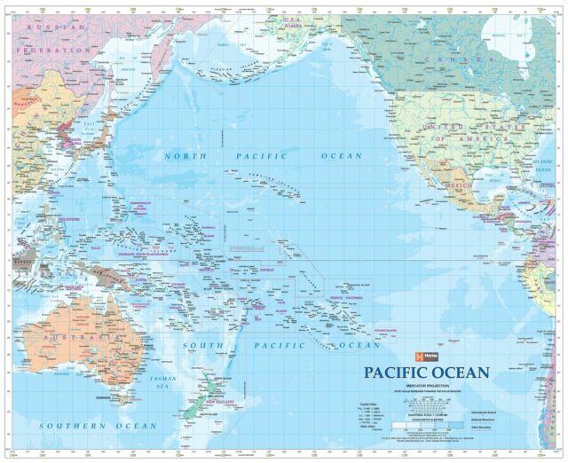 Pacific Ocean Hema 860 X 700mm Laminated Wall Map