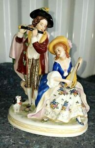 Antique-German-Scheibe-Alsbach-Porcelain-Figurine-The-Musicians-6-034-x-5-5-034