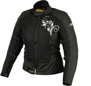 damen-motorradjacke-textil-motorradjacke-sommer-mit-Protektoren-schwarz