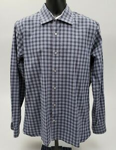 Hickey-Freeman-Men-039-s-Dress-Shirt-Size-Large-100-Cotton-Blue-Purple-Check-Plaid