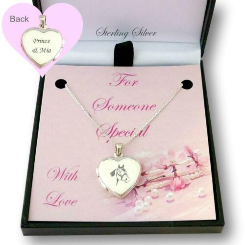 Personalised Engraving Sterling Silver Horse Locket Necklace Horse Lover Gift