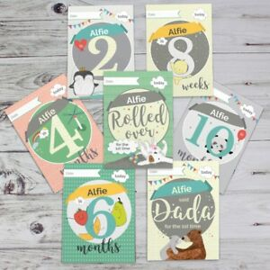 PERSONALISED-BABY-GIFT-MILESTONE-CARDS-Baby-Photo-Prop-Age-Memory-Cards-Props